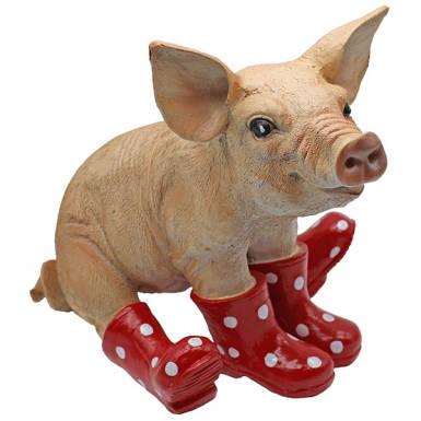 Schwein rote Gummistiefel